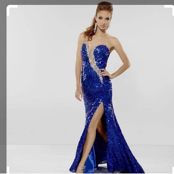 Riva Designs Dresses | Long Blue Sequin Prom Dress | Poshmark
